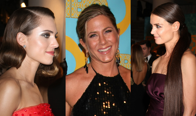 Las actrices Allison Williams, Jennifer Aniston y Katie Holmes en los Globos de Oro.